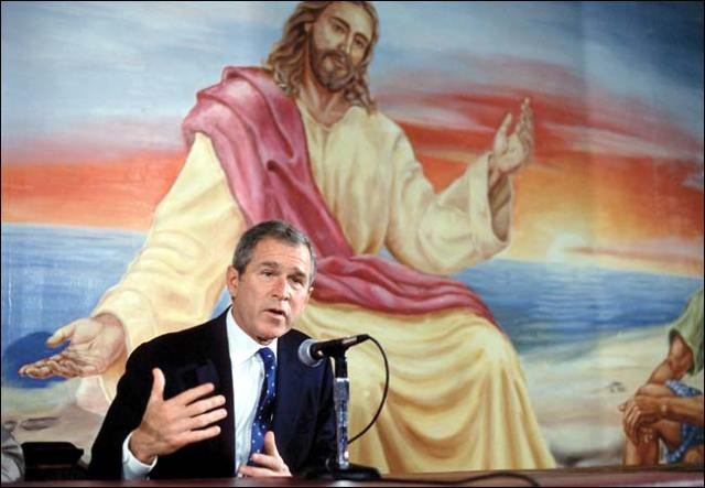 George W. Bush under the eyes of Jesus